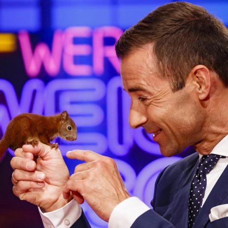 Moderator Kai Pflaume mit einem Eichhörnchen © NDR/Morris Mac Matzen, honorarfrei - Verwendung gemäß der AGB im engen inhaltlichen, redaktionellen Zusammenhang mit genannter NDR-Sendung bei Nennung